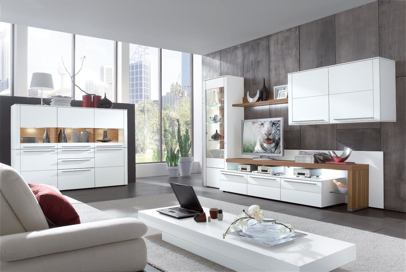 Wohnzimmer Schrankwand Modern: Mediawand Farben LED TV HiFi Rack ...